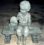 Sitting Boy with Dog on Bench (2 Piece)